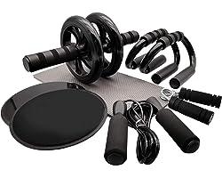 Euyecety Roue Abdominale Abdos Musculation, 8 en 1 Ab Wheel + Poignée de Pompe + Corde à Sauter + Hand Grip + Core Sliders +