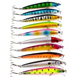 10pcs Kinds of Fishing pencil Lures Assorted Spoon Metal Hooks Baits Tackle