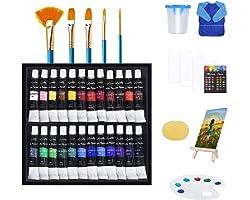 Qinner Acrylic Paints Set, 38pcs Paint Set with Brush, Acrylic Paint, Easel, Art Sponge, Palette, Acrylic Painting Pad, Paint