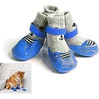 TJW, rutschfeste Haustiersocken für Hunde, Pfotenabdruckschutz, wasserdicht, robust, für jedes Wetter, 4 Stück