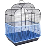 ANTOLE Universal Bird Cage Seed Catcher Stretchy Nylon Mesh Bird Cage Cover Parrot Cage Net Soft Airy (S, Black)