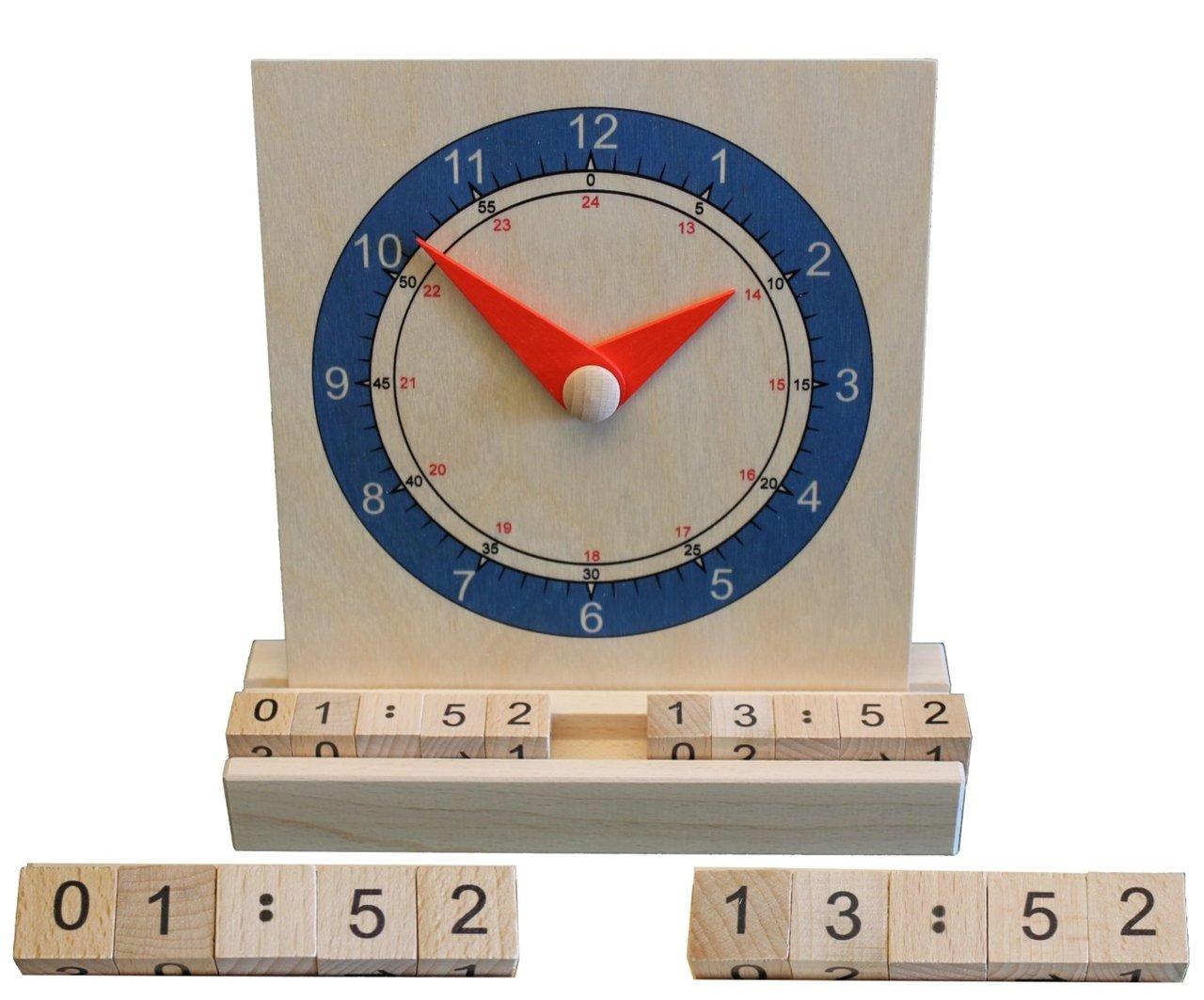 Lernuhr Digital Analog 17,5 x 20 cm NEU Uhr Holzuhr 3