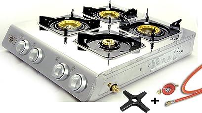 Edelstahl Gaskocher 1, 2, 3 oder 4 flammig Propangas Campingkocher Turbo-Brenner + Gasherdkreuz inkl. Gasschlauch Druckminderer 50 mbar