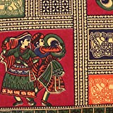 #4: Kesrie Hand Block Printed traditional Japuri set of two pillow covers art decorative cases elephant design large size - 17x27 Inches - Red