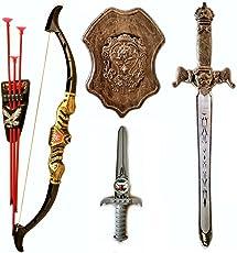 Halo Nation Kids Bahubali Warrior Set - Knights Fancy Dress Kids Cosplay - Bow Archery , King's Sword, Shield and Dagger