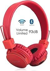 Termichy Kabellos Bluetooth Kopfhörer Kinder mit 93db Lautstärkenbeschränkung, Faltbare Tragbare Leicht kopfhoerer mit Frei Abnehmbarem Kabel, On-Ear Stereo Kopfhörer mit Shareport Musik-Anteil, Eingebautes Mikrofon für die Freisprechfunktion.(Rot)