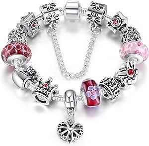 Braccialetto Pandora Stile con Perle in Vetro di Murano, Cuore Ciondolo e Catenina di Sicurezza,20cm