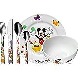 WMF Disney Mickey Mouse - Vajilla para niños 6 piezas, incluye plato, cuenco y cubertería (tenedor, cuchillo de mesa, cuchara