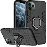 Case iPhone 11 Pro Max (2019) 6.5 Inch, Heavy Duty Finger Ring Grip Kickstand Shockproof with Magnetic Car Mount Full Body Ba