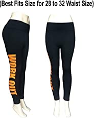 Samkit Women's Work Out Letters Printed Jogging Tights Legging Yoga Pant (Fits 28-32 Waist Size)
