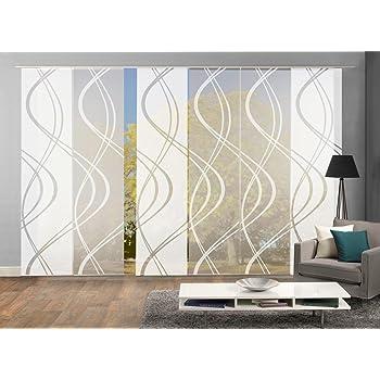 home fashion 96025 6er set schiebegardine arol mit scherli muster 6x 245x60 cm h x. Black Bedroom Furniture Sets. Home Design Ideas