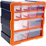 12 Compartment Multi Bin Storage Box Drawer Plastic Parts Storage Hardware and Craft Cabinet