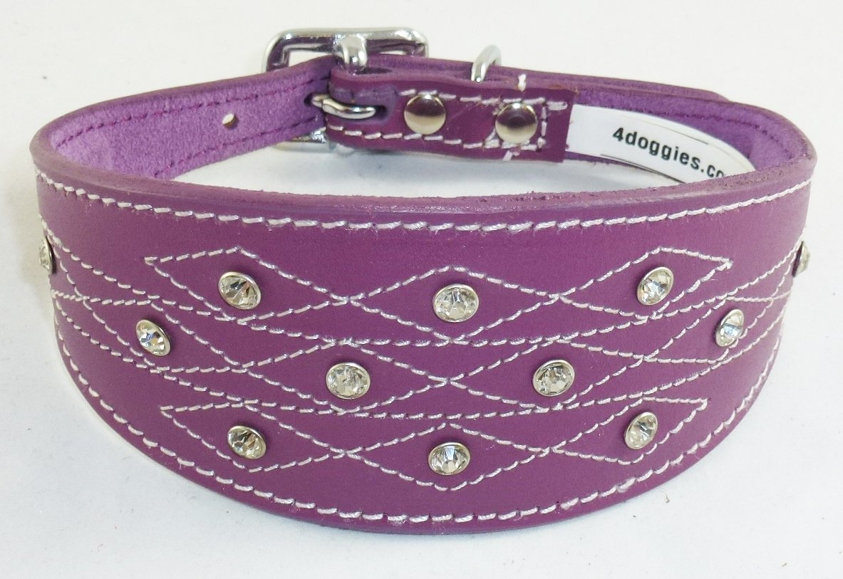 14-17 Inch Purple Greyhound Leather Collar Diamante Stiching Design