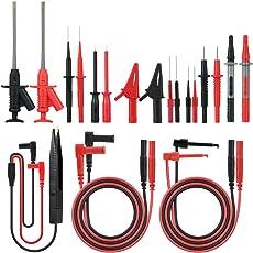Kit di Sonde di Prova,Meterk 21 pezzi multimetro cavi di prova Kit di accessori con prolunga di prova,Sonda di prova,Clip a coccodrillo e Clip di prova patch SMD,per multimetri