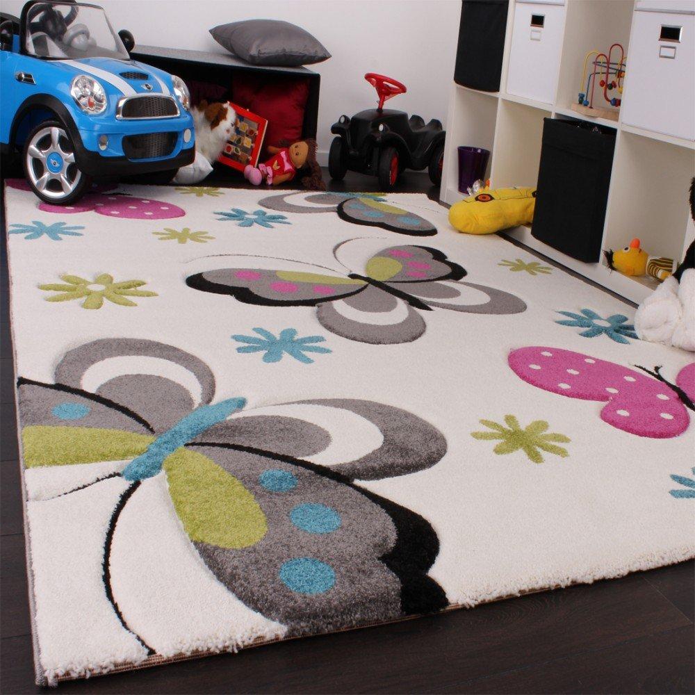 Kinderteppich schmetterling  Amazon.de: Kinder Teppich Schmetterling Design Pink Grün Blau Grau ...