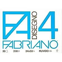 Fabriano F4 05000597, Album da Disegno, Formato 24 x 33 cm, Fogli Ruvidi, Grammatura 200gr/m2, 20 Fogli