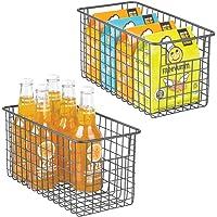 mDesign panier de rangement polyvalent (lot de 2) – boîte en métal pour la cuisine, le garde-manger, etc. – panier en…