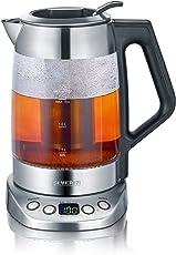 Glas-Tee-/Wasserkocher, ca. 3000 W,  ca. 1,7 L (Wasser) / 1,5 L (Tee), hochwertiges Gehäuse aus Edelstahl und Glas, 5 Teeprogramme mit voreingestellter Temperatur und Ziehzeit, Temperatur und Ziehzeit individuell einstellbar, automatische Warmhaltefunktion  zur 30 minütigen Temperaturspeicherung