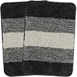 Saral Home Black Soft Microfiber Anti-Skid Bath Mat (Pack of 2, 35x50 cm)