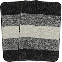 SARAL HOME EASY LIVING Striped Anti-Skid Bath Mat (Black, Microfiber, 35X50 CM)