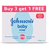 Johnson's Baby Soap For Bath Combo Offer Pack, 100g (Buy 3 Get 1 Free)