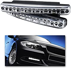 GrowAbout Car 8 LED Daytime Running Lights White (Set of 2) - Universal for Cars