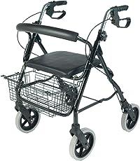NRS Healthcare M39634 faltbarer Aluminium-Rollator/ -Gehhilfe mit 4 Rädern inklusive Einkaufskorb & Sitz