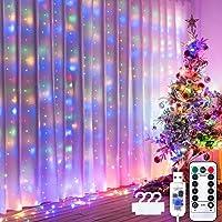 Vorhang Lichter für Dekorationen, String Lights, 3m×3m LEDs, Weihnachtsdekoration, Lichter für Raumdekoration, USB…