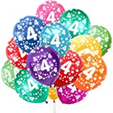 Bluelves 4. Födelsedag kundfärgglada ballonger, 4 år barnfödelsedag 30 st, 4-årsdag bröllopsfest dekoration, nummer 4 ballong