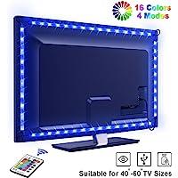 """LED TV Lightstrip, OMERIL 2.2M 66 LED Ruban LED RGB 5050 16 Couleurs et 4 Modes, Bande Lumineux Etanche de Télécommande Alimenté par USB pour 40""""-60"""" HDTV/PC Monitor [2x50cm+2x60cm]"""