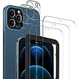 MSOVA Protector de Pantalla Compatible con iPhone 12 Pro, 3 Piezas Cristal Templado/Protector de Lente de cámara, No Burbujas