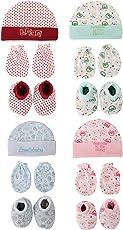 Poddar Fashion Square Krishnam 100% Soft CottonBaby Mitten,Cap & Botties Multi-Color Combo Set