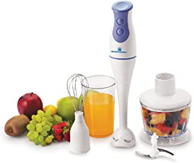 Kelvinator KHB-2012 200-Watt Hand Blender with Blending Jar, Chopping, Whisking Attachment (White)