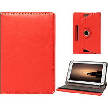 DMG 7in Slim Tablet Cover, Firm Grip 360 Rotating Stand Cover Case for Micromax Funbook P256 (Red)