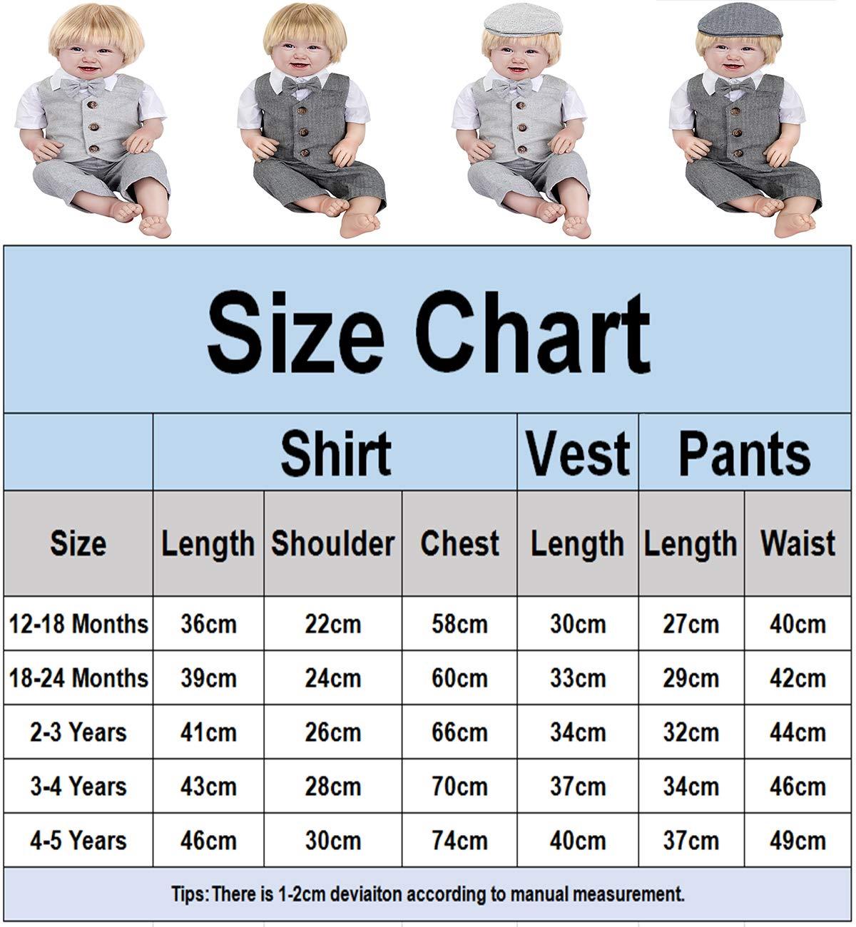 mintgreen Conjunto Camisa de Manga Corta Bebé Niños, Traje Caballero con Pajarita Chaleco, 3 Piezas Tamaño: 1-5 Años 5