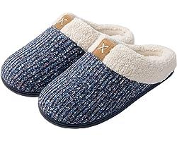 ULTRAIDEAS Ladies' Cozy Memory Foam Slippers Fuzzy Wool-Like Plush Fleece Lined House Shoes w/Indoor, Outdoor Anti-Skid Rubbe