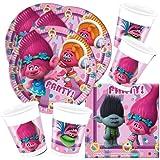 CAPRILO. Lote de Cubiertos Infantiles Trolls (8 Vasos, 8 Platos y 20 Servilletas) .Vajillas y Complementos. Juguetes para Fie