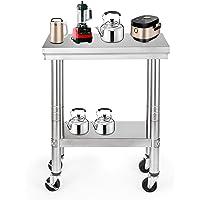 HODOY Tavolo da Lavoro Professionale da Cucina Tavolo da Lavoro in Acciaio Inox con Ruote  61 X 30 cm