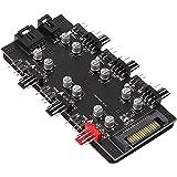 12 V 4 pines PWM y 5 V 3 pines ARGB con SATA de 15 pines de potencia 2 en 1 Hub de 6 vías de sincronización CPU ventilador de
