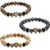 Flongo Gioielli Clásica pulsera de piedras braccialetto di energia, Regolabile braccialetto buddista con perline tessuto, Bra