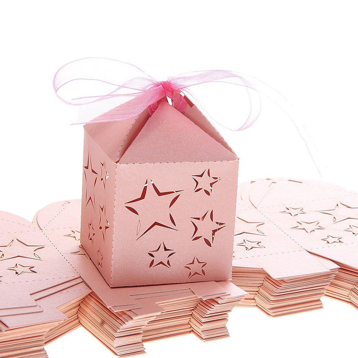 LEORX CANDY Scatole Regalo per Matrimonio Feste Baby doccia–scatole 50pezzi (Rosa)