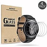 Akwox [Lot de 4] Vitre Verre Trempé Samsung Gear S2 Classic/Gear Sport, Film de Protection d'Écran Anti Rayures Film Vitre Protecteur en Verre trempé pour Gear S2 Classic/Gear Sport