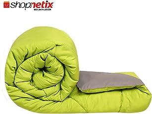 Shopnetix Reversible Microfiber Double Bed King Size Comforter/Duvet, 230x154cm (Green_Grey_Comfrtrer_300GSM)
