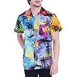 Virgin Crafts Camisa hawaiana para hombre impresa manga corta botón abajo playa camisa