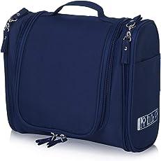 ASkyl Hanging Travel Toiletry Bag Cosmetic Kit Large Organizer Sturdy Hook Makeup Bag - Heavy Duty Waterproof (Navy Blue)