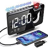 Anykuu Radio Reveil Horloges à Projection 180°avec Fonction Radio FM Réveil Numérique LED avec Port de Chargement USB Double