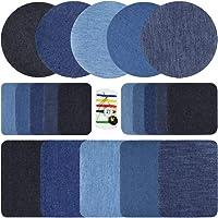 21Pezzi Toppe Termoadesive, Jeans Ferro Denim Toppa Quadrata Rotonda con Kit di Riparazione in Tessuto, Vestiti Piumino…