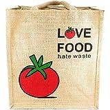 Kabbana Unisex Jute Multipurpose Waterproof Lunch Bag with Classy Print (Red, 12x4.5x14 Inch)