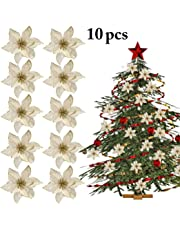 Outgeek 10PCS Christmas Flower Decorative Glitter Artificial Flower Xmas Tree Ornament