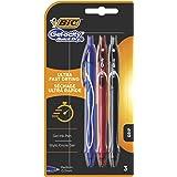 BIC Gel-ocity Quick Dry Bolígrafos Tinta en Gel Punta Media (0,7 mm) - Colores Surtidos, Blíster de 3 Unidades - Bolígrafo re